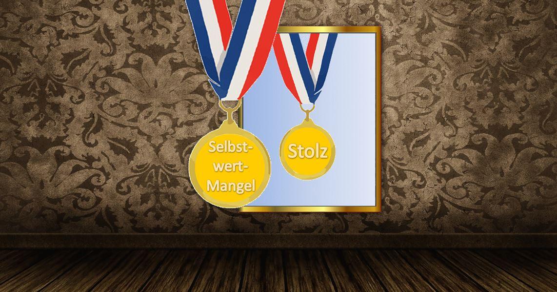 Spiegel Medaille Stolz Selbstwert